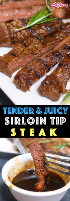 Sirloin Tip Steak is juicy and flavorful with a crunchy crust on the outside. A simple balsamic and honey marinade turns this lean cut into a tender steak dinner that melts in your mouth. steak recipe Sirloin Tip Steak with Balsamic Marinade Sirloin Steak Recipes, Steak Marinade Recipes, Grilled Steak Recipes, Marinated Steak, Sirloin Steaks, Steak Marinade Balsamic, Tender Steak Tips Recipe, Steak Tenderizer Marinade, Recipes