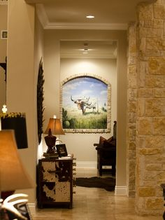 Debbie Cherry Designs/One Swanky Shop - traditional - hall - austin - One swanky shop Western Decor, Rustic Decor, Rustic Furniture, Home Furniture, Marble Fireplace Mantel, Gothic Wallpaper, Color Plan, Wall Decor, Room Decor
