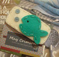 NO SLIP Wool felt hair clip Mint fish cream by MayCrimson on Etsy, $7.00