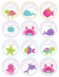 Pink Girls Under the Sea Birthday- Personalized Printable Cupcake Toppers /Gift Favor Tags on Etsy, $8.00