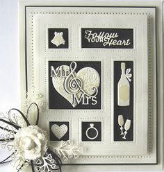 Good Sunday morning all! I have an elegant wedding shadow box card for you today. I started by cutting the Wedding shadow box out of . Wedding Anniversary Cards, Card Box Wedding, Wedding Ideas, Wedding Gifts, Spellbinders Cards, Engagement Cards, Love Valentines, Box Frames, Handmade Wedding
