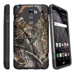 LG Stylus 2 Plus Case SHOCK FUSION 3 in 1 Combo Kickstand - Tree Bark Hunter Camo