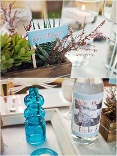 Bottle of water with a picture of baby groom and baby bride.
