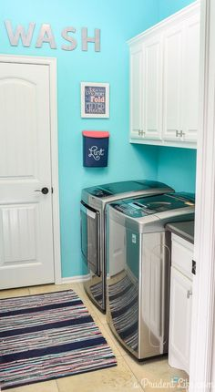 Laundry room before & after photos - can't believe this one was under $100! (scheduled via http://www.tailwindapp.com?utm_source=pinterest&utm_medium=twpin&utm_content=post349703&utm_campaign=scheduler_attribution)
