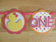 Rubber Duck Ducky I Am 1 Age Highchair Banner Sign Birthday Party Shower Pink Yellow Orange by PeachyPaperCrafts on Etsy https://www.etsy.com/listing/205496479/rubber-duck-ducky-i-am-1-age-highchair