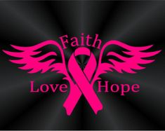 baton twirling for breast cancer awareness | Breast Cancer Awareness Faith Decal Angel Wings Decal BC Ribbon