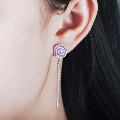 BUYEE Rose Red & Silver Zircon Swirl Lollipop Earrings Long Line Earring Candy Costume Trendy Style Woman Girl Jewelry. Yesterday's price: US $5.98 (5.09 EUR). Today's price: US $5.98 (5.09 EUR). Discount: 23%.