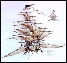 Flying Ship, Flying Boat, Fantasy World, Fantasy Art, Steampunk Airship, The Elder Scrolls, Treasure Planet, Dungeons And Dragons Homebrew, Desenho Tattoo