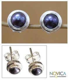 Handmade Gray Pearl Sterling Silver Earrings - Eclipsed Moon   NOVICA