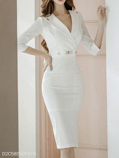 Product Name Surplice Plain Bodycon Dress Brand Name Gogroov SKU Package Included Dress Silhouette sheath Season Casual Dress Outfits, Mode Outfits, Sweater Outfits, Elegant Dresses For Women, Cute Dresses, Denim Dresses, Dresses Dresses, Dresses Online, Sheath Dress