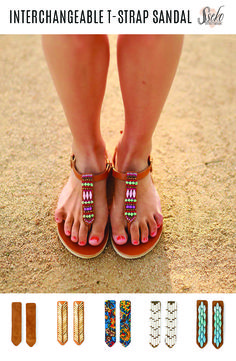 Beautiful sandals with intricate beading. Switch the middle accent to show off your personal style for any event!