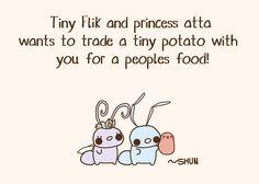 Wanna trade? :3 Tiny Potato, Cute Potato, Kawaii Things, Kawaii Stuff, Kawaii Potato, My Philosophy, Disney Quotes, Kawaii Drawings, Funny Comics