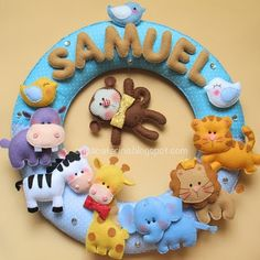 Felt wreath with zoo animals