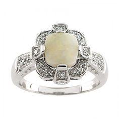 14K WHITE GOLD GENUINE OPAL CABOCHON AND DIAMOND RING in Gemstone | eBay