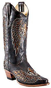 Corral® Ladies Chocolate Brown w/Gold Sequin Inlay Fleur De Lis Snip Toe Western Boot