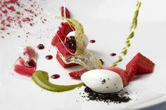 Douceur Printaniere, Roasted Beet Genoise, Yogurt Panna Cotta, Pistachio Coulis and Yogurt Sorbet - The Chef's Connection