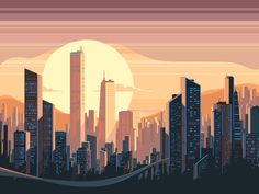 Buy Sunrise Landscape in City by evanat on GraphicRiver. Sunrise landscape in city with tall skyscrapers. Sunrise Landscape, City Landscape, Building Illustration, City Illustration, Landscape Drawings, Landscape Paintings, Sunrise City, City Drawing, 8 Bits
