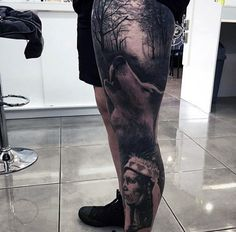 Native American Tribe And Dark Forest Tattoo Males Leg Sleeves