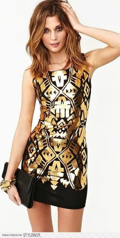 Printed gold bodycon dress
