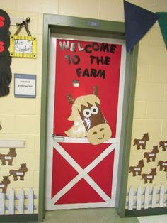 to School on The Farm What a fun horse door for the farm theme classroom! (western classroom too!)What a fun horse door for the farm theme classroom! (western classroom too! Classroom Door, Classroom Themes, Seasonal Classrooms, Classroom Activities, Classroom Organization, Classroom Management, The Farm, Farm Door, Farm Activities