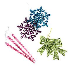 Fashion Glitter Snowflake, Bows or Icicle Ornaments, 20-Pack at Big Lots.