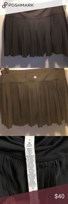 "Lululemon ""Pleat to Street"" Skirt - Black - Size 4 Lightly worn Lululemon ""Pleat to Street"" pleated black skirt No signs of wear Washed on delicate and hung to dry Size 4 Built-in shorts Selling as they no longer fit my postpartum body! lululemon athletica Skirts"
