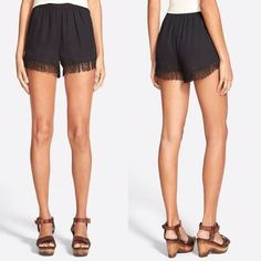 Soprano Fringe Trim Shorts ✨ Swishy fringe lends playful movement to chic, lightweight shorts styled with a trendy high waist.                                                                •Pull-on style                                                   •100% Polyester •                                                      •Hand wash cold, line dry. Soprano Shorts