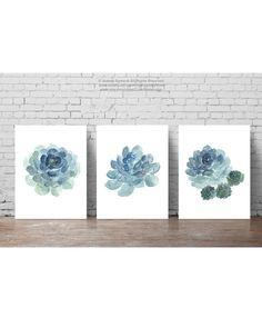 Succulent Plant set of 3 flowers Blue Watercolour Painting. Cactus Flower Botanical Living Room Home Decoration. Cacti Succulents Scandi Minimalist Art Print. Green Blue and Teal Nordic Poster. A price is for the set of 3 diffrent Succulent Art Prints as in the first Picture.  Type of paper: Prints up to (42x29,7cm) 11x16 inch size are printed on Archival Acid Free 270g/m2 White Watercolor Fine Art Paper and retains the look of original painting. Larger prints are printed on 200g/m2...
