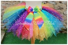Colourful and Bright Sparkly Birthday Party Cake Smash Tutu Outfit. Available In Adults Size By Request, Rainbow Unicorn Party, Rainbow Tutu, Rainbow Dresses, Rainbow Fairies, Rainbow Ribbon, Tutu Outfits, Tulle, Birthday Parties, Tutu Skirts
