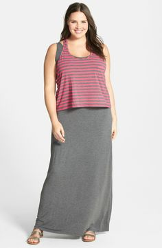 Layered Stretch Knit Maxi Dress (Plus Size)