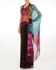 #Exclusivelyin, #IndianEthnicWear, #IndianWear, #Fashion, Dark Wine Sari