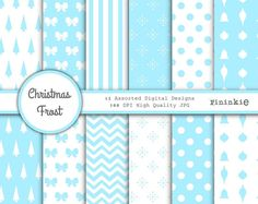 Christmas Digital Paper Digital Scrapbook Paper Blue by Pininkie, $4.00