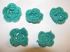 Handmade crochet flowers 38mm (5 pcs) Craft supplies Jewelry materials