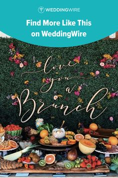 This creative engagement party idea is one of our WeddingWire editors' top picks. This brunch table setting includes a fun greenery wall and assorted brunch foods. Check out this pin for more affordable engagement party ideas. Planning your wedding has never been so easy (or fun!)! WeddingWire has tons of wedding ideas, advice, wedding themes, inspiration, wedding photos and more.{The Box Street Social}