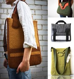 Cool felted wool bags!  I could see me carrying one of these!