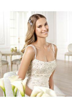 Empire strapless beading spaghetti strap crystal embroidery wedding dresses - Wedding Dresses