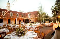 Fairy Tale Garden Wedding, outdoor reception, table decor, string lights. For more inspiration, visit www.fetenashville.com | Féte Nashville