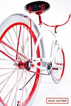 Rear Lollipop Red  Limited Edition Custom Beach Cruiser Bicycle by Villy Custom  www.villycustoms.com