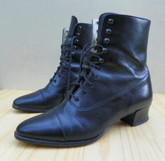 Laura Ashley Black Leather Edwardian Victorian Lace Hook Ankle Boots