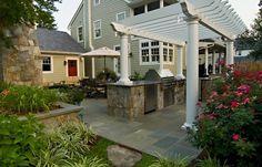 Shade For Grill, White Pergola  Outdoor Kitchen  Walnut Hill Landscape Company  Annapolis, MD