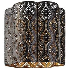 BNWT-Black-Gold-Cut-Out-Scalloped-Moroccan-Metal-Ceiling-Light-Shade-Pendant-NEW