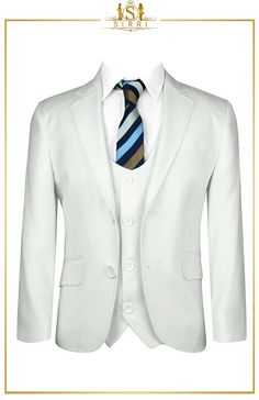 Let him steal the spotlight with this classic ivory suit. All eyes will be on your young man with this handsome communion boys suit. It comes as a 3 piece with a jacket, waistcoat and trousers and also as a 5 piece that includes a shirt and fancy striped tie. Shop now at SIRRI kids #childrens suits #boys 3 piece suit #kids wedding suits #boys communion suits