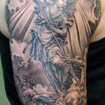 Classic Half Sleeve Guardian Angel Tattoo Designs