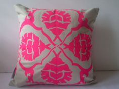 aqua door designs neon pink pillow.  so cute!