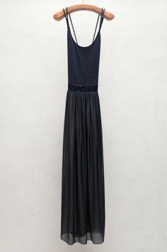 Navy Spagetti Strap Dress by Giada Forte