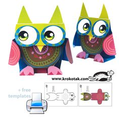 Paper owl – cut, fold and assemble