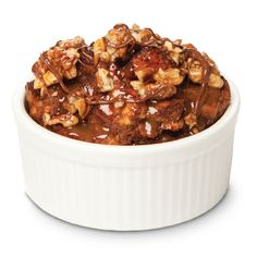 Warm Chocolate Bread Pudding with Turtle Topping to enjoy during this year's winter wonderland. Dig in and be chocolate-charmed. #HealthierHolidays