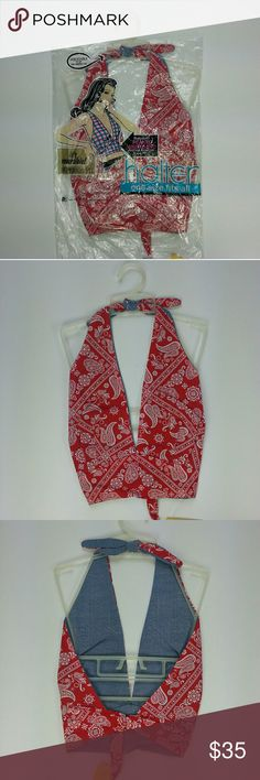 NWT 1970s Reversible Red Paisley Halter Bra Top One size fits all - New Old Stock - by Paris Accessories - 5th Ave, New York   Super cute! Brand new old stock with packaging and tags. 50% / 50% Cotton Polyester blend halter top. Made in USA. Tagged one size fits all, but this would be best for approximate A, B to C cup, approximate size small to medium. Red with white and black print. It is reversible to a blue fabric that looks kind of like denim. Ties around the neck, and around the back…
