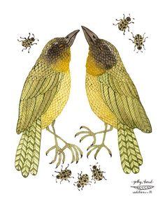yellowthroats bird art giclee print watercolor by GollyBard