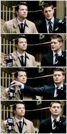 Misha Collins & Jensen Ackles as Castiel and Dean Winchester